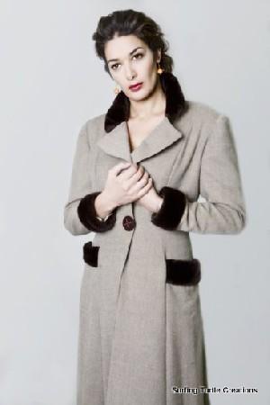 Redingote femme en laine, soie et fausse fourrure