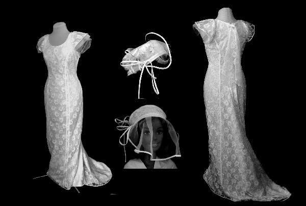 Robe pr&egrave;s du corps en dentelle blanche doubl&eacute;e en coton ivoire.<br /> Robe allongeant la silhouette de part ses d&eacute;coupes et sa tra&icirc;ne.