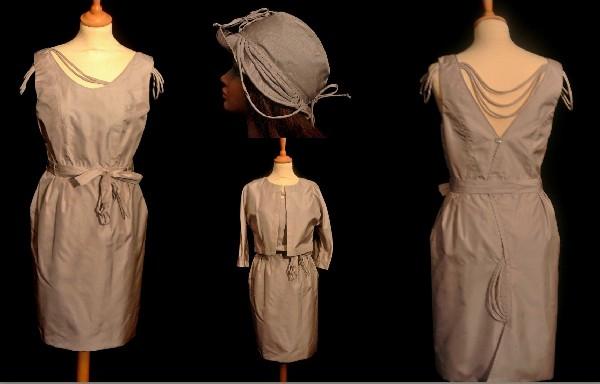 Tailleur en soie composé d'une robe,d'un boléro et de son chapeau.