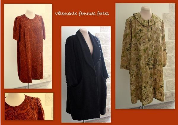 Création de vêtements femmes fortes,robes,manteaux.