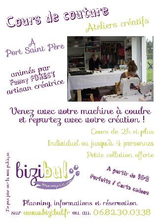 Les cours de  couture Bizibul c'est au choix :<br /> - à l'atelier à Port Saint Père<br /> - à votre domicile<br /> <br /> - un catalogue de cours accessible sur le planning ou à la date de votre choix<br /> - le projet que vous souhaitez à la date de votre choix<br /> <br /> Rendez-vous sur le site pour plus de renseignement : www.bizibul.fr