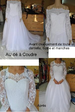 transformation d'une robe de mariée , changement de toute la dentelle.